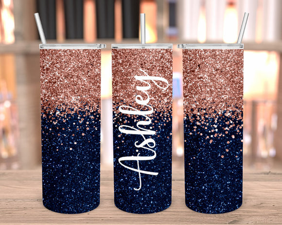 Personalized navy and rose gold tumbler