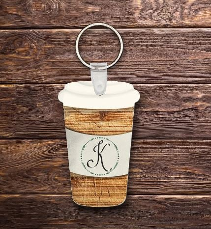 Initial travel cup key chain