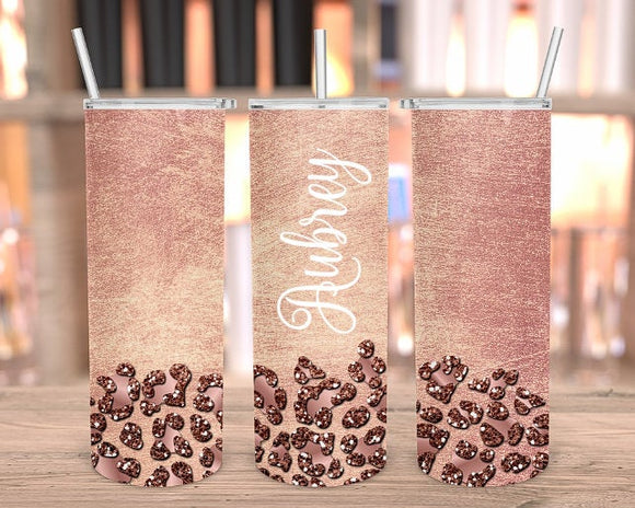 Personalized glitter rose gold tumbler