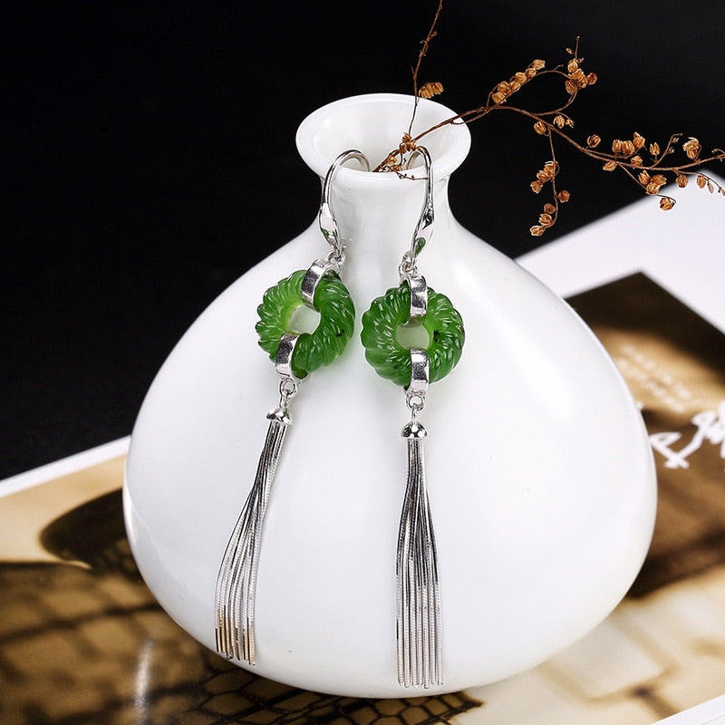 Natural Nephrite Earrings