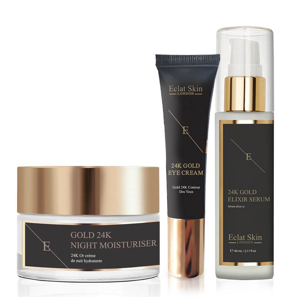 Elixir Serum + 24K Gold Anti-Wrinkle Moisturiser + 24K Gold Under Eye Cream