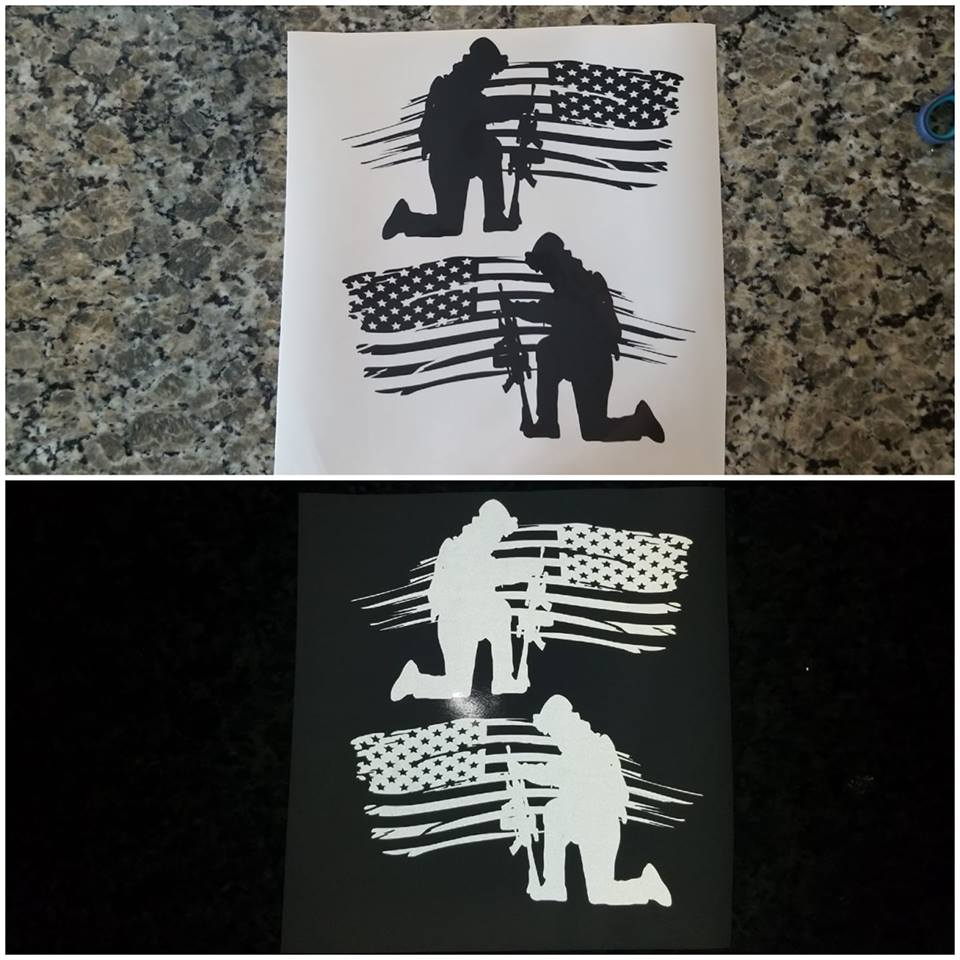 Reflective Kneeling Soldier Flag Sets