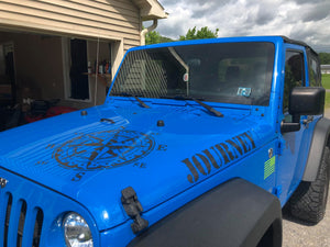 Distressed Compass Jeep Hood Decal-Reflective