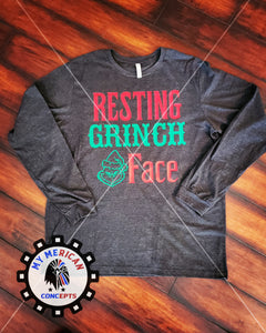 Resting Grinch Face long-Sleeve Unisex Shirt!