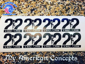 22 A Day PTSD Decal