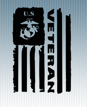 Load image into Gallery viewer, U.S. Marine Veteran Flag Decal