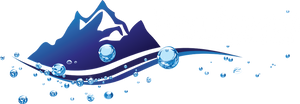 Flint Services Water Treatment specializing in Glycol products, feeds and meters,  and Cascadian Water Treatment Systems. The logo depicts snowcapped mountains with a blue river at the base, with rising, lumenescent bubbles