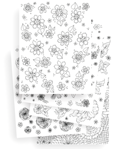 5 Page Flower Coloring Set