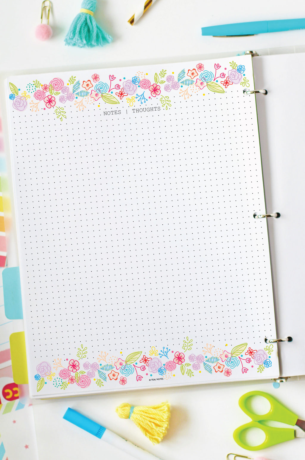 Floral Dot Grid Set | Full Page And Half Page Inserts