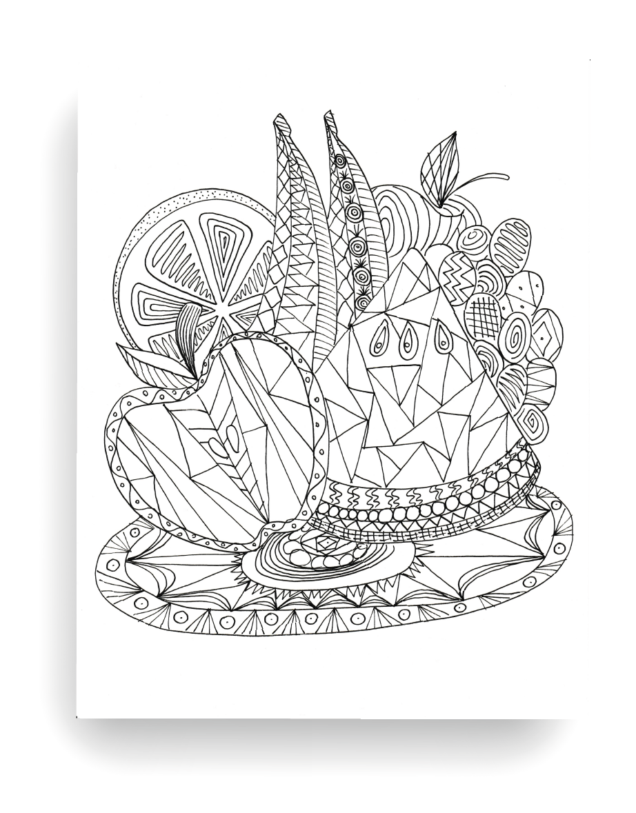 Fruit Cocktail Coloring Pages