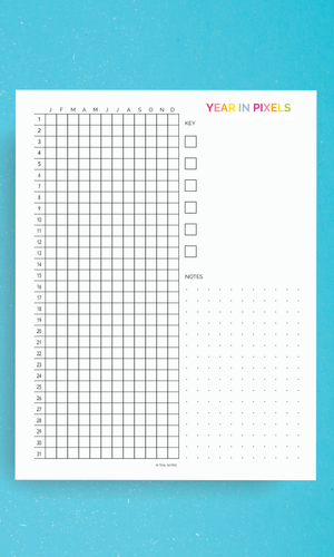Printable Planner Pages Year In Pixels