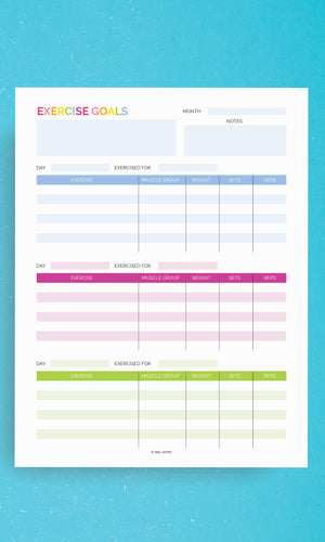 Printable Planner Pages Exercise Tracker