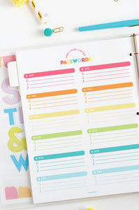 printable password tracker | printable password log
