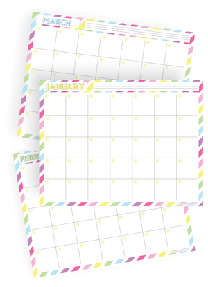 2019 12-Month Fill In Rainbow Calendar Kit