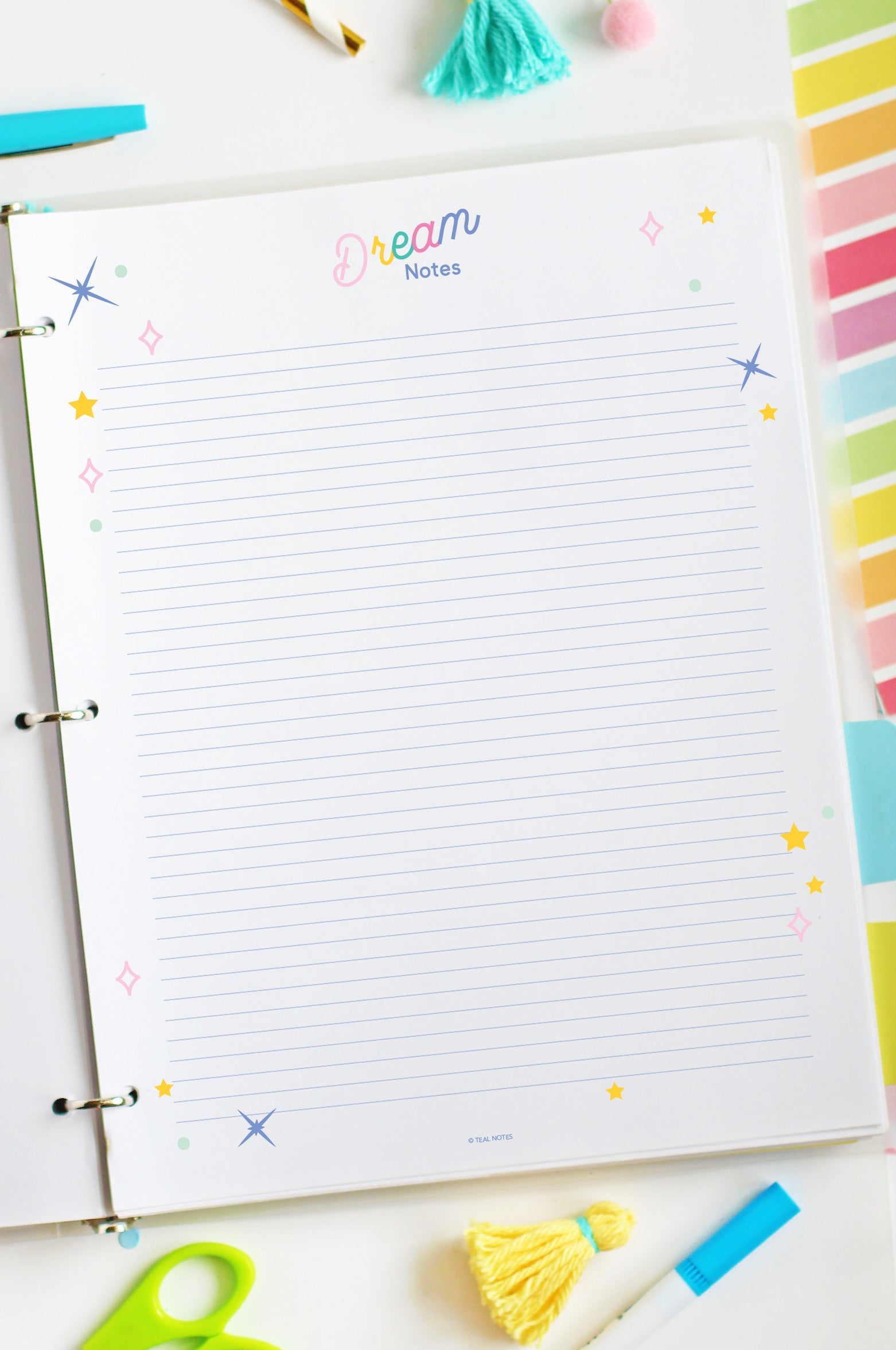 printable dream journal notes page