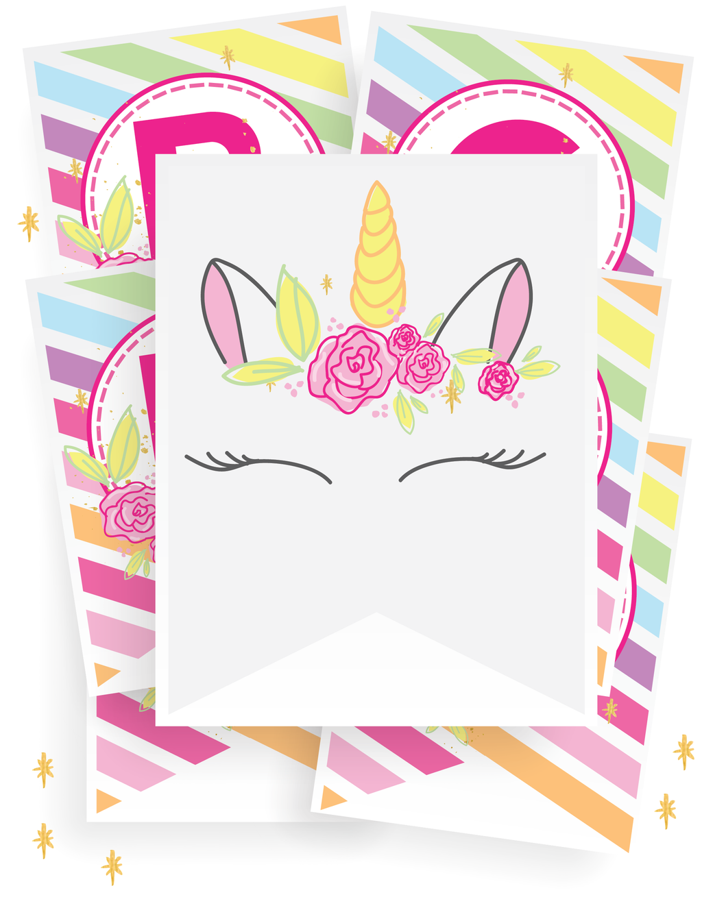 Unicorn Party Banner Alphabet Set! (28 Pages)
