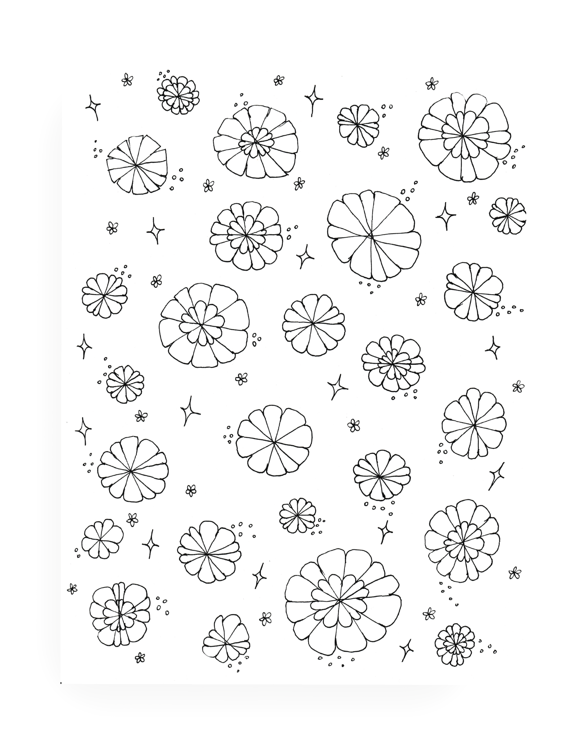 5 Page Summer Flower Coloring Set