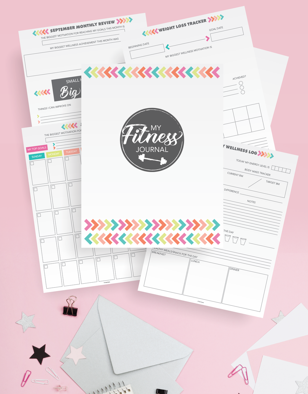 Fitness Journal Printable Kit (39 Pages)