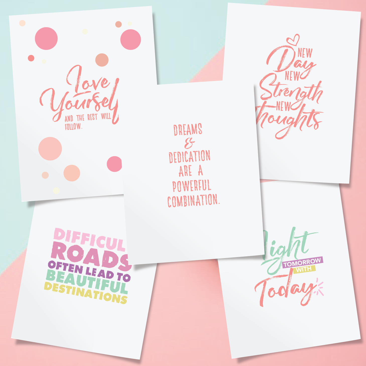 5 Page Inspirational Printable Wall Art