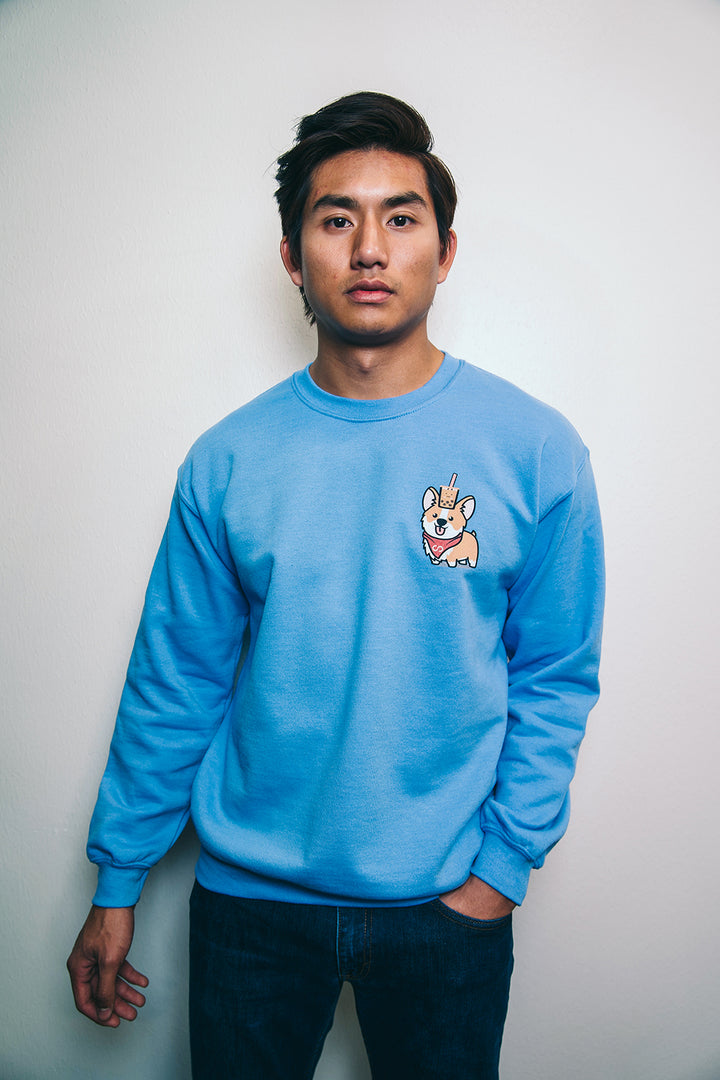 Subtle Corgi Carolina Blue Sweatshirt