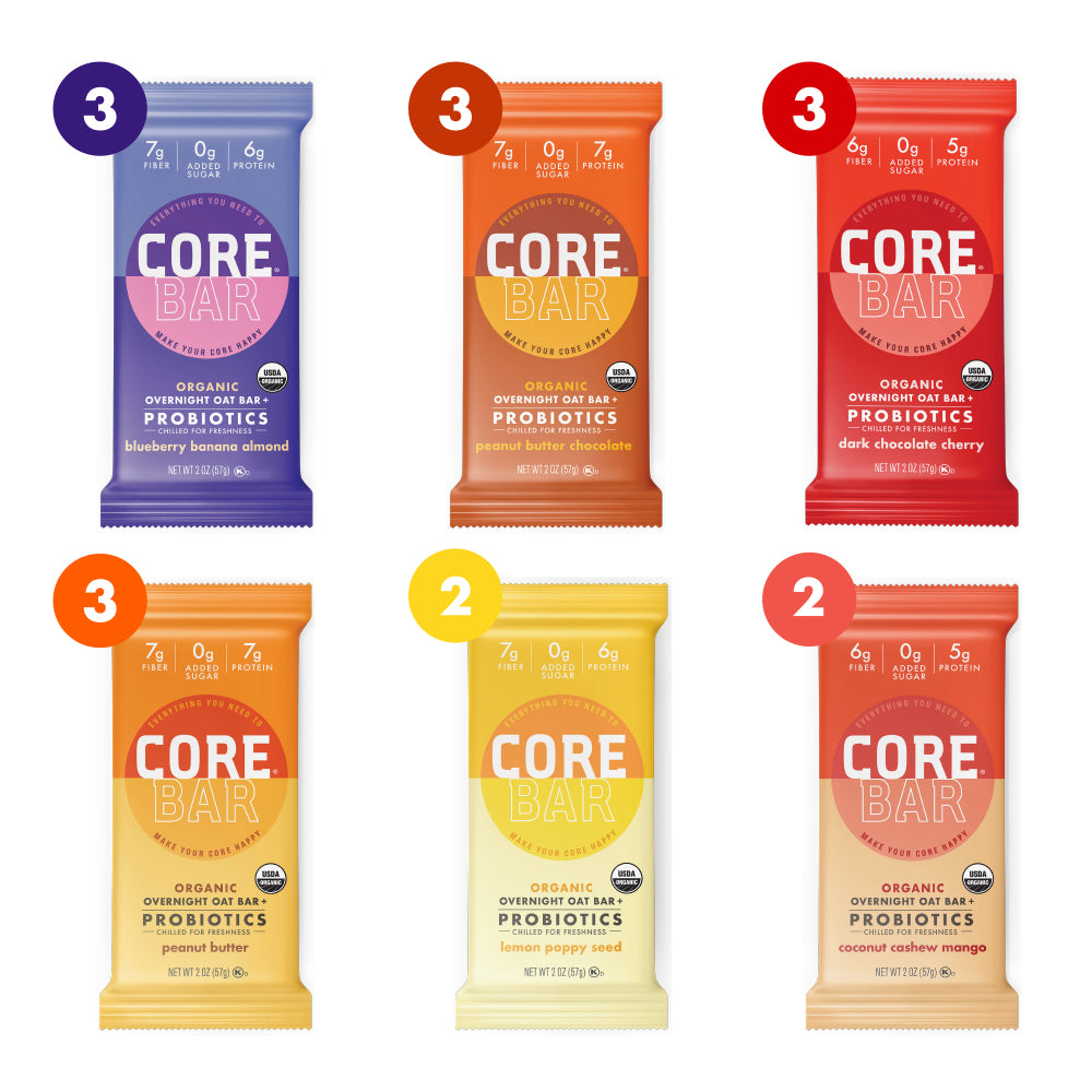 CORE Foods Organic Overnight Oat Bar + Probiotics, Gluten Free, non-GMO, Vegan, Kosher, Prebiotics, Best Sellers Variety Pack, 2 oz, 16 Bars