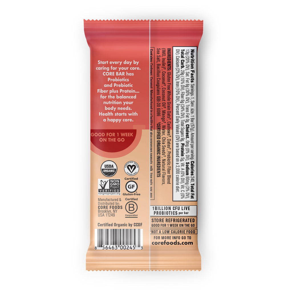COCONUT CASHEW MANGO, 8 bars, 2 oz. - REFRIGERATED