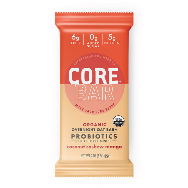 CORE Foods Organic Overnight Oat Bar + Probiotics, Gluten Free, non-GMO, Vegan, Kosher, Prebiotics, Coconut Cashew Mango, 2 oz, 16 Bars