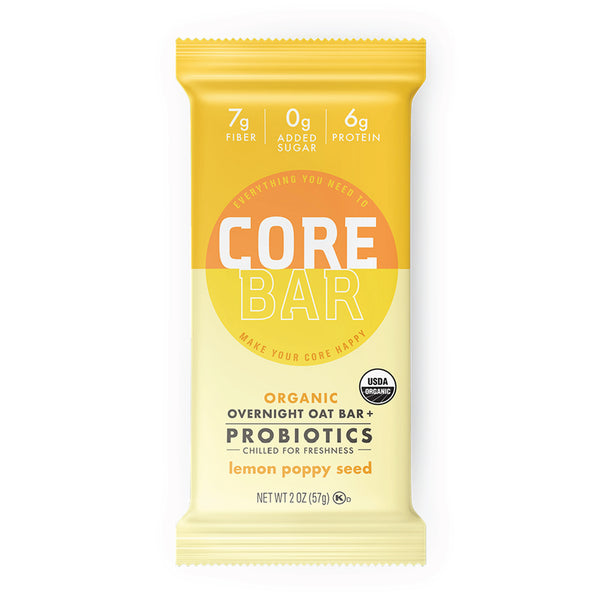 CORE Foods Organic Overnight Oat Bar + Probiotics, Lemon Poppy Seed, 2 Oz, 16 Count