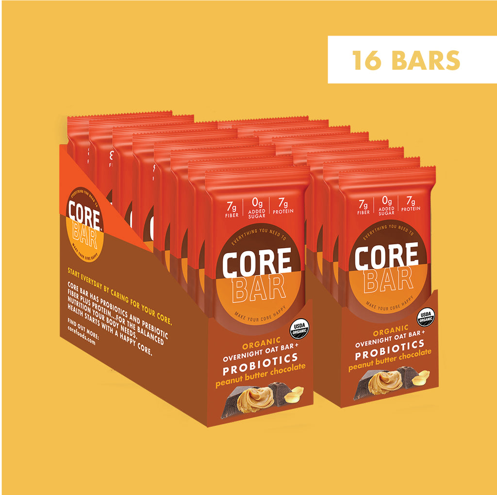 CORE Foods Organic Overnight Oat Bar + Probiotics, Gluten Free, non-GMO, Vegan, Kosher, Prebiotics, Peanut Butter Chocolate, 2 oz, 16 Bars