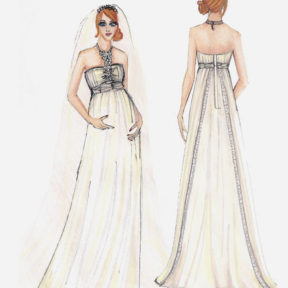 Fashion Illustration of Handmade and Designed Wedding Gown