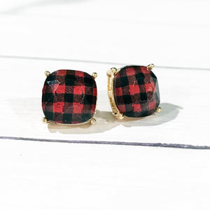 Buffalo Check Earrings | Plaid Stud Earrings | Megan Fenno | FENNO FASHION