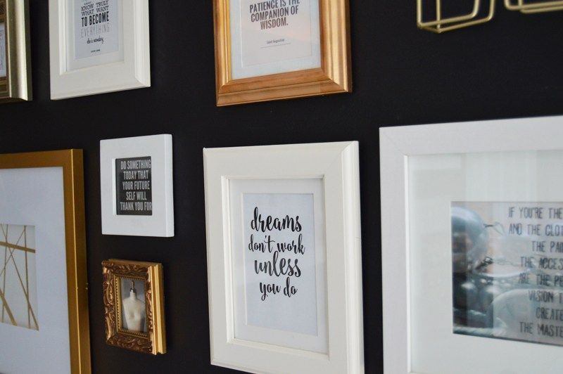 DIY Collage Wall With Black Wall