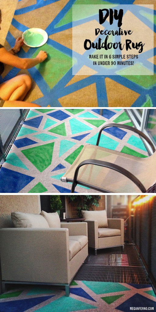 DIY: A COLORFUL OUTDOOR RUG MADE IN 90 MINUTES | As seen on BuzzFeed | Megan Fenno