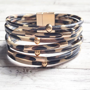 Leather Wrap Bracelet | Magnetic Clasp Bracelet | Leopard Print Jewelry | Megan Fenno | FENNO FASHION