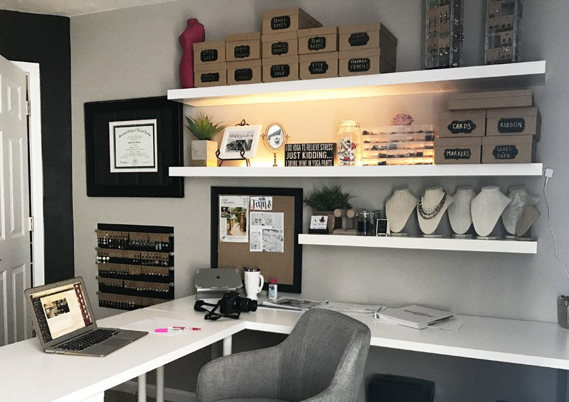Creative and Chic Office Idea with Black Walls and Gold and Pink Color Scheme | Megan Fenno