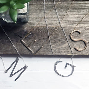 Silver and Gold Block Letter Large Initial Necklaces | Megan Fenno | FENNOfashion