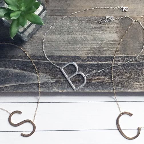 Block Letter Monogram Necklace | Silver Or Gold Initial Necklace | Megan Fenno | FENNOfashion