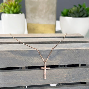 Rose Gold Dainty Cross Necklace | Crystal Cross Necklace | FENNO FASHION