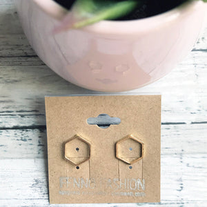 Gold Geometric Stud Earrings | Hexagon Earrings | Megan Fenno | FENNO FASHION