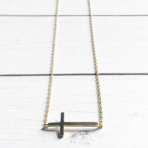 Gold Dainty Sideways Cross Necklace | Megan Fenno | FENNOfashion