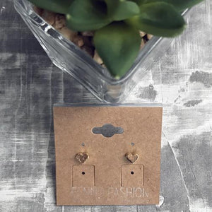 Gold Heart Stud Earrings | Dainty Heart Earrings | FENNO FASHION | Megan Fenno