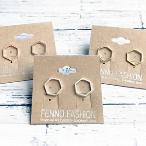 Geometric Stud Earrings | Hexagon Earrings | Megan Fenno | FENNO FASHION