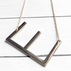 Block Letter E Initial Necklace | Megan Fenno | FENNOfashion