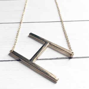Block Letter H Initial Necklace | Megan Fenno | FENNOfashion