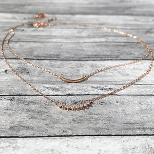Layered Rose Gold Necklace | Dainty Rose Gold Necklace | FENNO FASHION | Megan Fenno