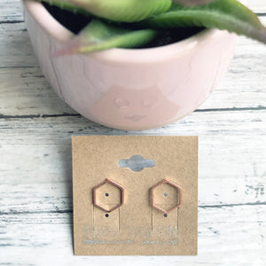 Rose Gold Geometric Stud Earrings | Hexagon Earrings | Megan Fenno | FENNO FASHION