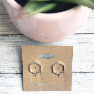 Silver Geometric Stud Earrings | Hexagon Earrings | Megan Fenno | FENNO FASHION