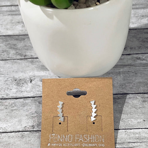 Silver Geometric Climber Earrings | Geometric Studs | Megan Fenno | FENNO FASHION