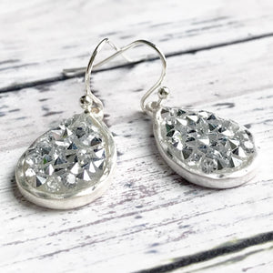 Sparkling Silver Teardrop Earrings | Megan Fenno | FENNO FASHION