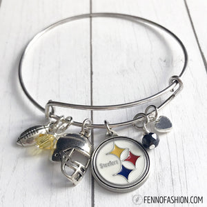 Steelers Jewelry | Pittsburgh Steelers Silver Bangle Bracelet | Megan Fenno | FENNOfashion